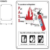 Cartel label to operate extinguisher H125xL125mm